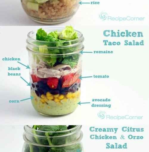 Pack one (or all!) Of this Mason jar salad for breakfast and lunch at work.