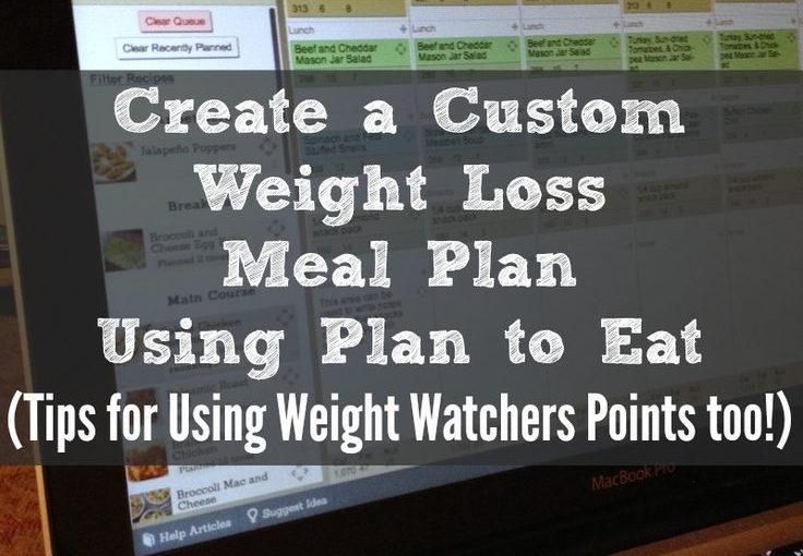 Create a custom weight loss or weight loss plan using a plan to eat.