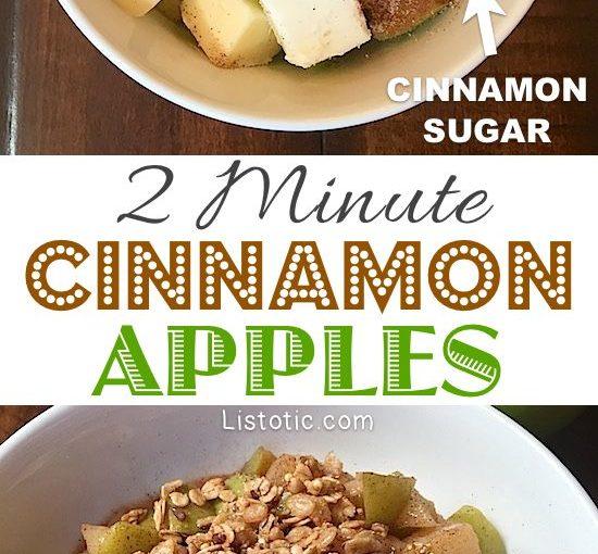 Super easy and quick cinnamon apple dessert! Top with vanilla icecream or grano …
