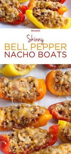 These Skinny Bell Pepper Nacho Boats are low-carb, low-calorie, high protein and …