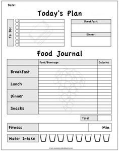 Printer Friendly Training Journal | … for me to monitor my daily food, exercise and …