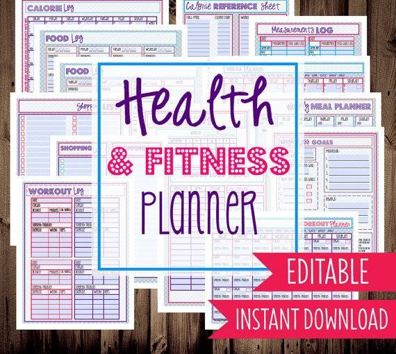 Health and fitness planner-Diet Planner-Weight Loss Tracker-14 Sheets-Chevron-IN …