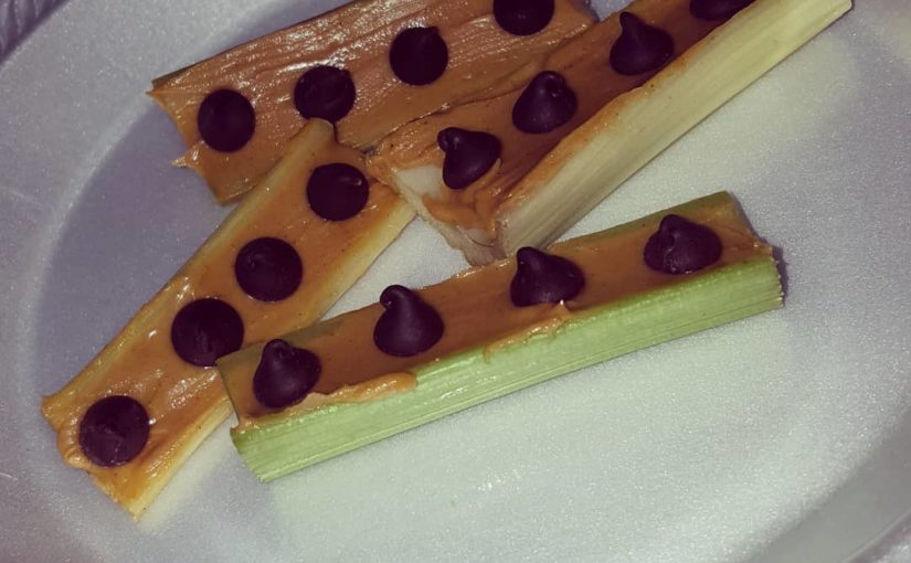Celery, peanut butter and sugarless chocolate chips. Yummy !!! _ _ # weight loss # …