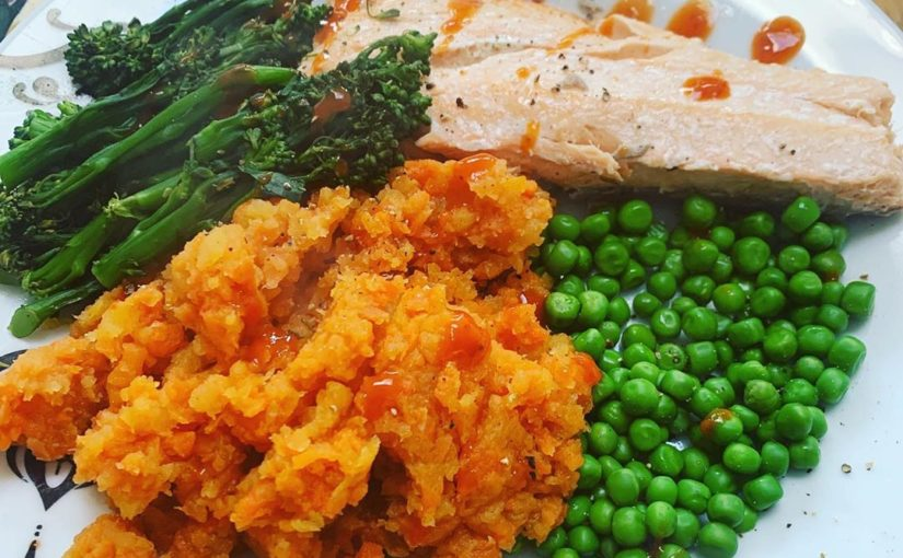 Dinner – Salmon, carrot and sweet meats, soft broc and beans with hot sauce …