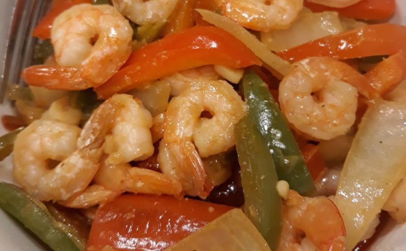 Quick and easy fajita shrimp. It was delicious with powerful flavors #ww #veig …
